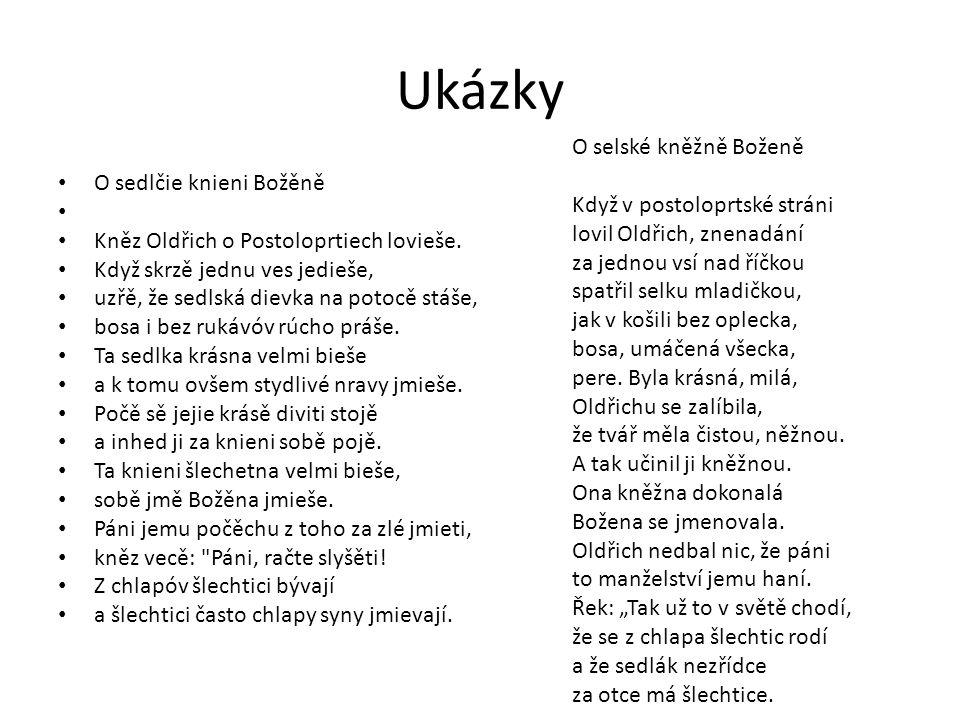 Ukázky O sedlčie knieni Božěně Kněz Oldřich o Postoloprtiech lovieše.