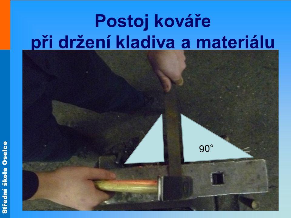 Střední škola Oselce Postoj kováře při držení kladiva a materiálu 90°