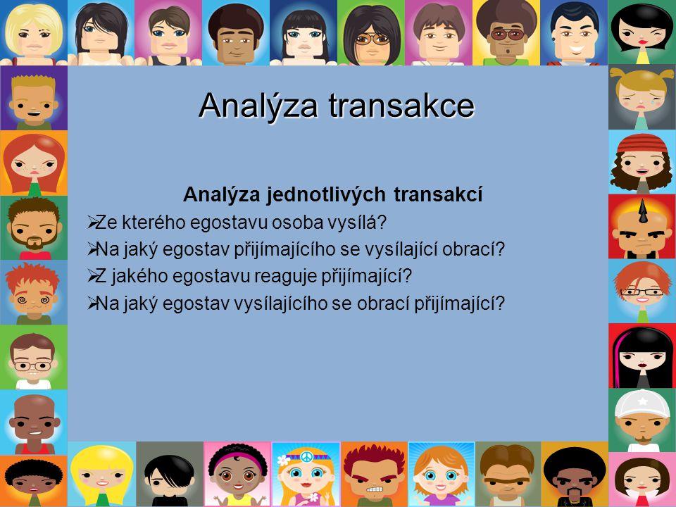 Analýza transakce Analýza jednotlivých transakcí  Ze kterého egostavu osoba vysílá?  Na jaký egostav přijímajícího se vysílající obrací?  Z jakého
