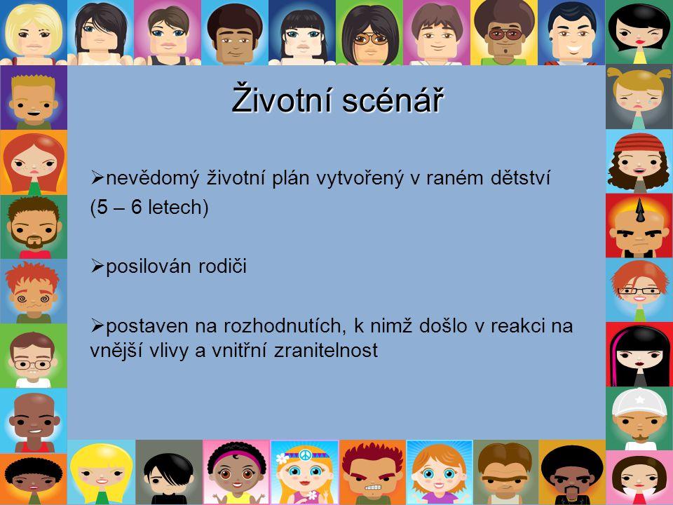 Životní scénář  nevědomý životní plán vytvořený v raném dětství (5 – 6 letech)  posilován rodiči  postaven na rozhodnutích, k nimž došlo v reakci n