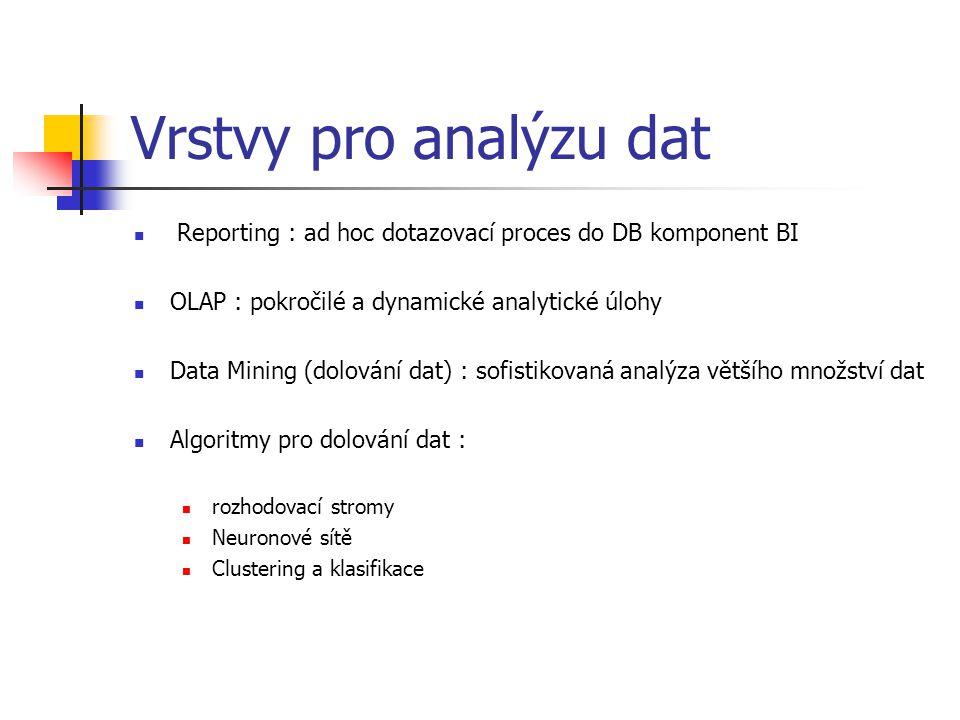 Vrstvy pro analýzu dat Reporting : ad hoc dotazovací proces do DB komponent BI OLAP : pokročilé a dynamické analytické úlohy Data Mining (dolování dat) : sofistikovaná analýza většího množství dat Algoritmy pro dolování dat : rozhodovací stromy Neuronové sítě Clustering a klasifikace