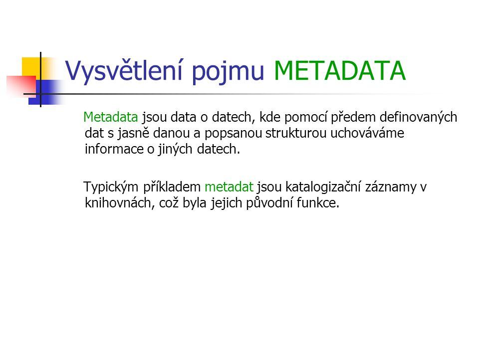 Vysvětlení pojmu METADATA Metadata jsou data o datech, kde pomocí předem definovaných dat s jasně danou a popsanou strukturou uchováváme informace o jiných datech.