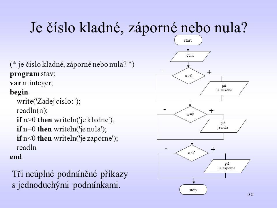 30 Je číslo kladné, záporné nebo nula? (* je číslo kladné, záporné nebo nula? *) program stav; var n:integer; begin write('Zadej cislo: '); readln(n);