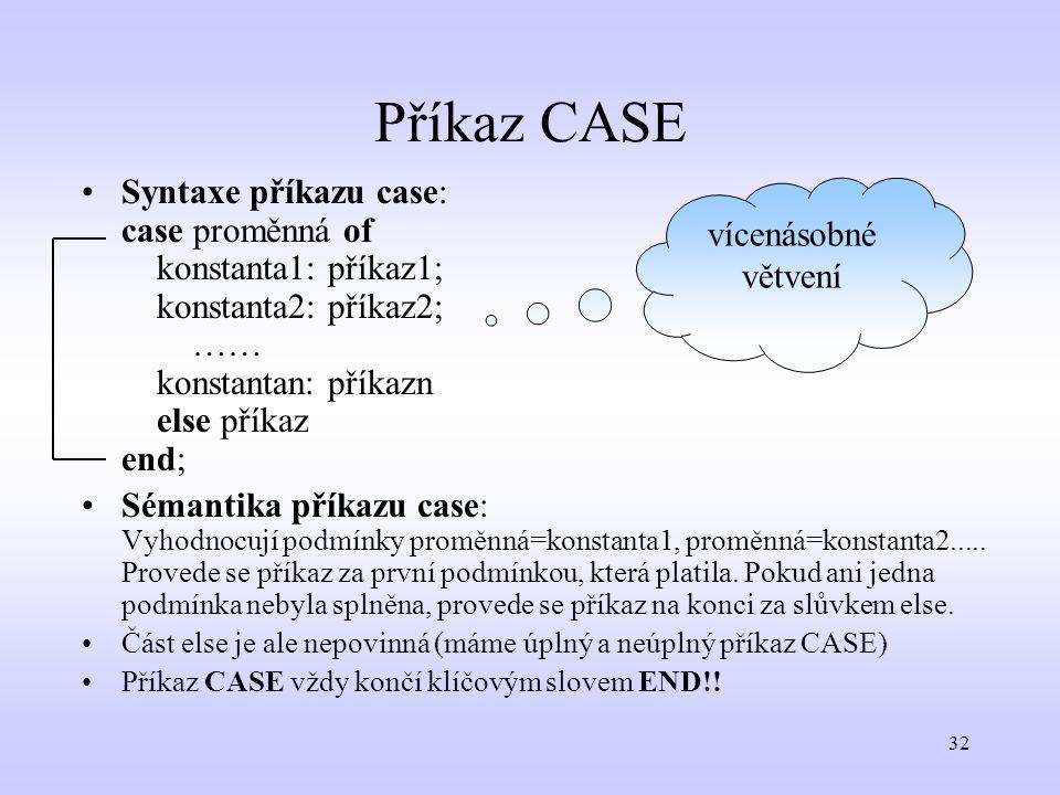 32 Příkaz CASE Syntaxe příkazu case: case proměnná of konstanta1: příkaz1; konstanta2: příkaz2; …… konstantan: příkazn else příkaz end; Sémantika přík