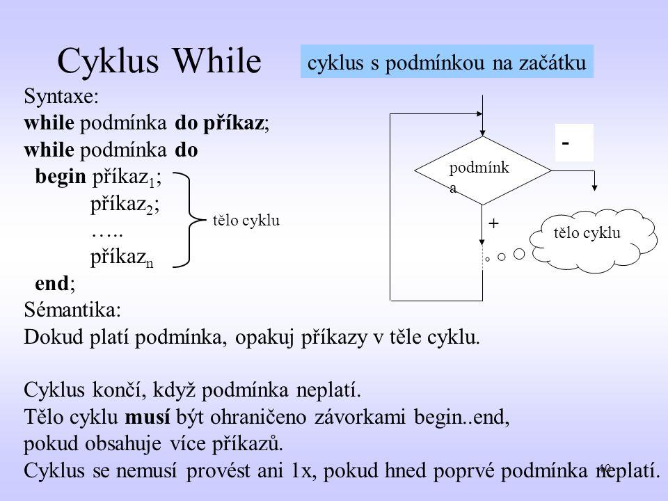 40 Cyklus While tělo cyklu - + podmínk a - Syntaxe: while podmínka do příkaz; while podmínka do begin příkaz 1 ; příkaz 2 ; ….. příkaz n end; Sémantik