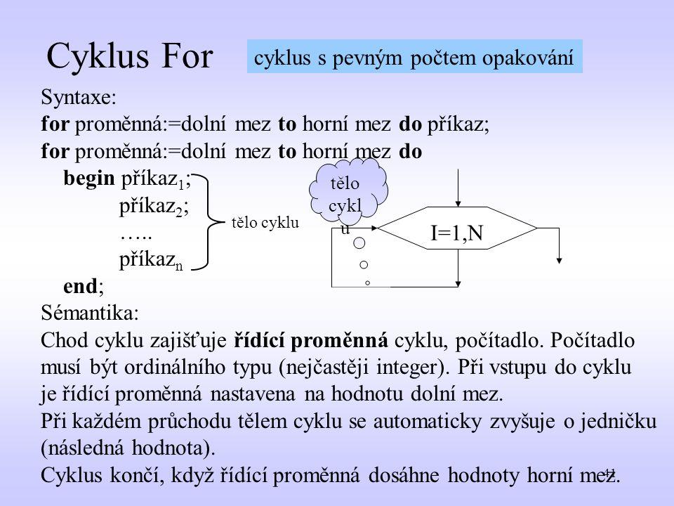 41 Cyklus For Syntaxe: for proměnná:=dolní mez to horní mez do příkaz; for proměnná:=dolní mez to horní mez do begin příkaz 1 ; příkaz 2 ; ….. příkaz