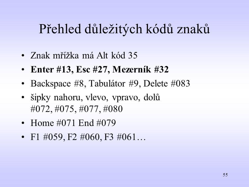 55 Přehled důležitých kódů znaků Znak mřížka má Alt kód 35 Enter #13, Esc #27, Mezerník #32 Backspace #8, Tabulátor #9, Delete #083 šipky nahoru, vlev