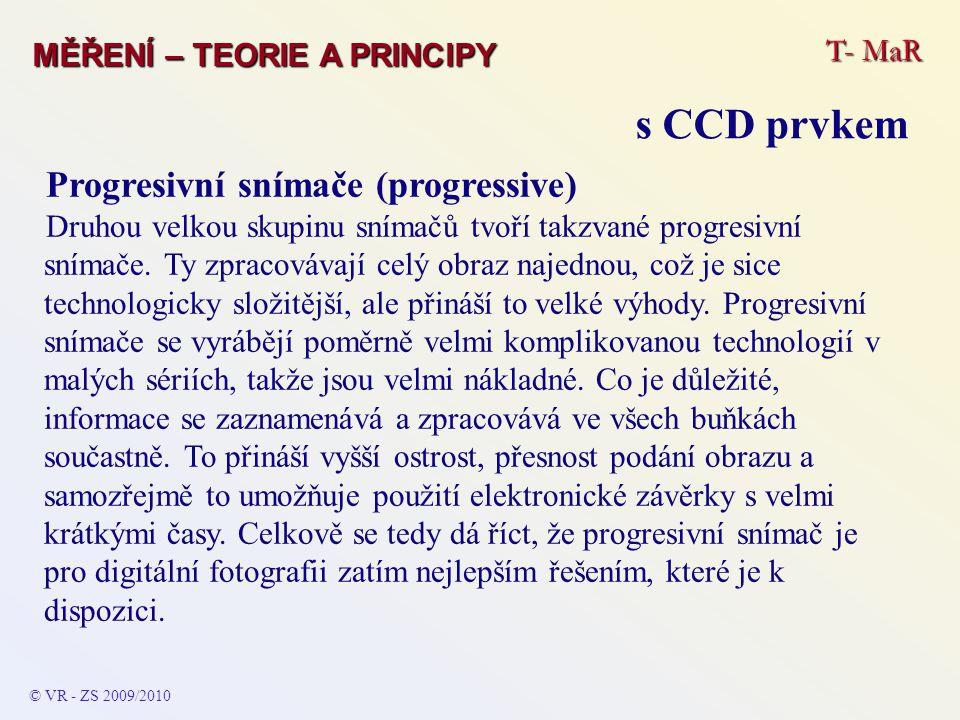 Progresivní snímače (progressive) Druhou velkou skupinu snímačů tvoří takzvané progresivní snímače. Ty zpracovávají celý obraz najednou, což je sice t