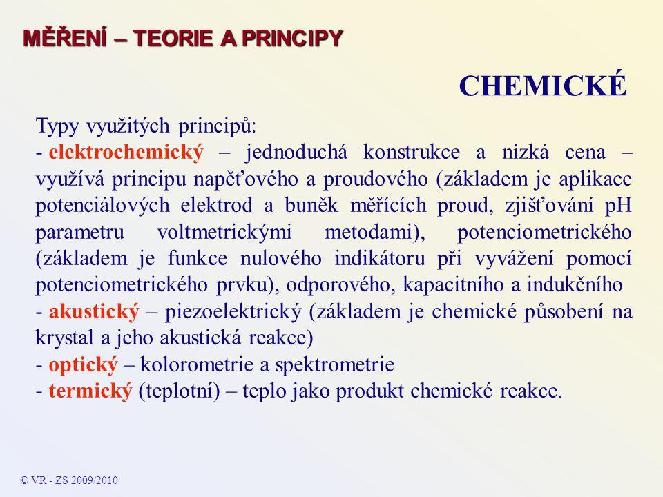 Typy využitých principů: - elektrochemický – jednoduchá konstrukce a nízká cena – využívá principu napěťového a proudového (základem je aplikace poten
