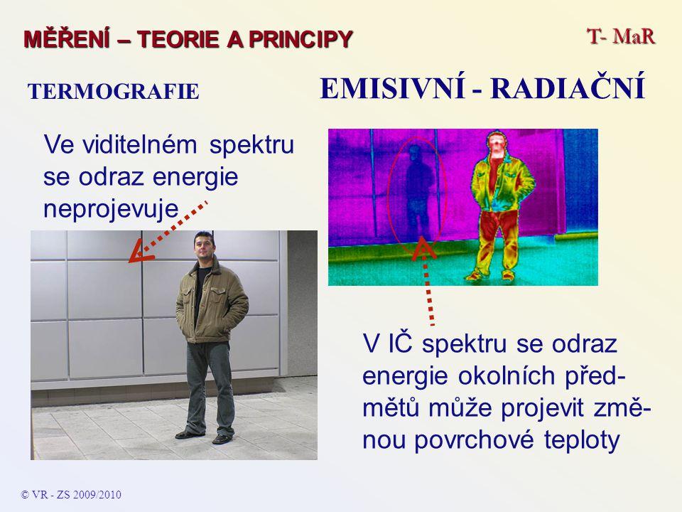 T- MaR MĚŘENÍ – TEORIE A PRINCIPY EMISIVNÍ - RADIAČNÍ TERMOGRAFIE © VR - ZS 2009/2010 V IČ spektru se odraz energie okolních před- mětů může projevit