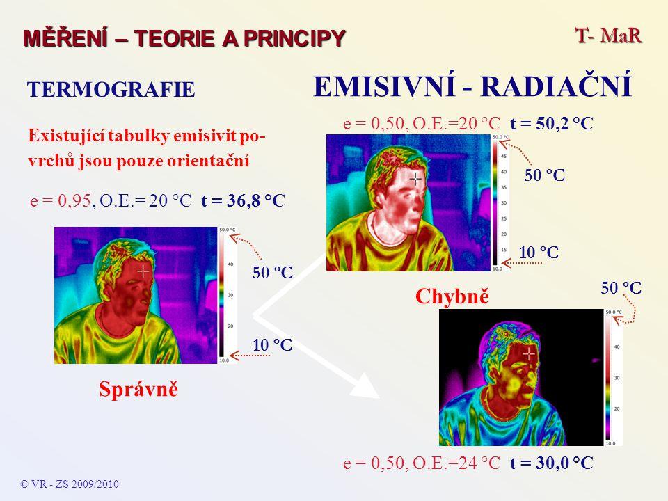T- MaR MĚŘENÍ – TEORIE A PRINCIPY EMISIVNÍ - RADIAČNÍ TERMOGRAFIE © VR - ZS 2009/2010 Existující tabulky emisivit po- vrchů jsou pouze orientační e =