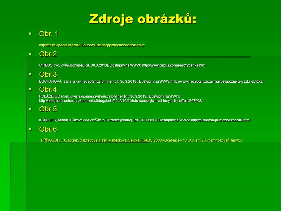 Zdroje obrázků:  Obr. 1 http://cs.wikipedia.org/wiki/Soubor:Grasshoppermetasnodgrass.svg  Obr.2 CIRBUS, Ivo. cirbus [online]. [cit. 30.3.2013]. Dost