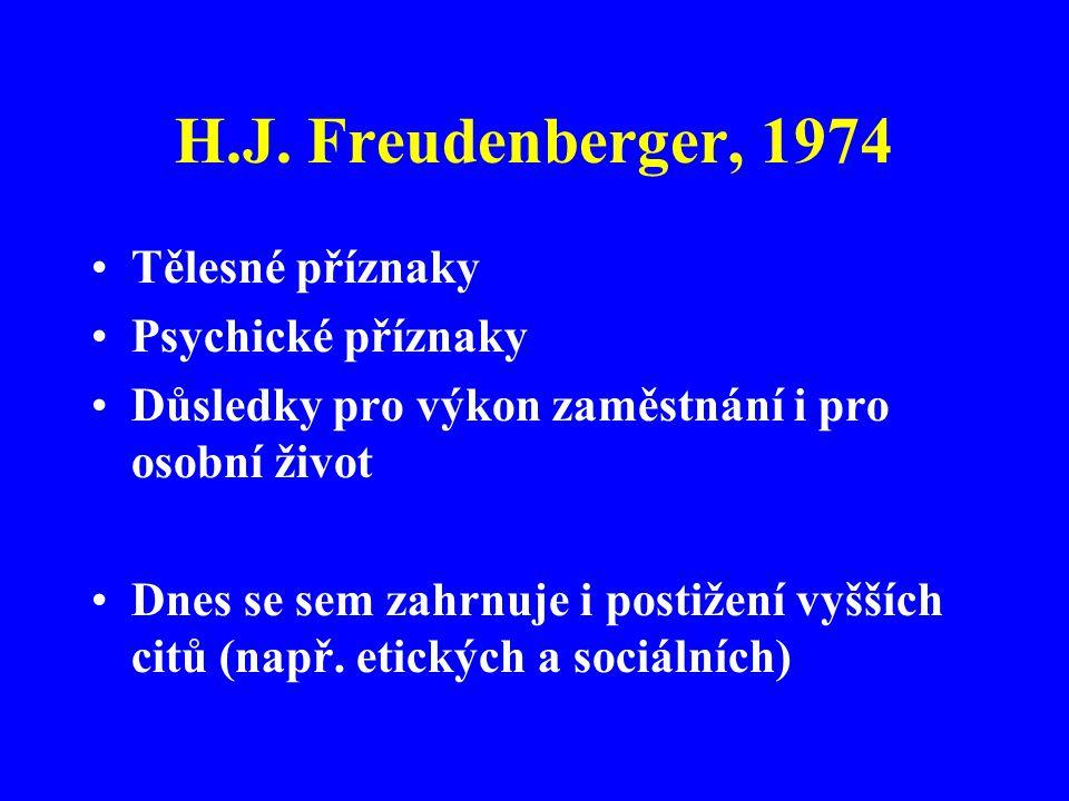 H.J. Freudenberger, 1974 Tělesné příznaky Psychické příznaky Důsledky pro výkon zaměstnání i pro osobní život Dnes se sem zahrnuje i postižení vyšších