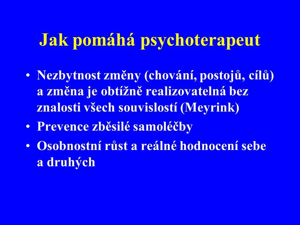 Jak pomáhá psychoterapeut Nezbytnost změny (chování, postojů, cílů) a změna je obtížně realizovatelná bez znalosti všech souvislostí (Meyrink) Prevenc