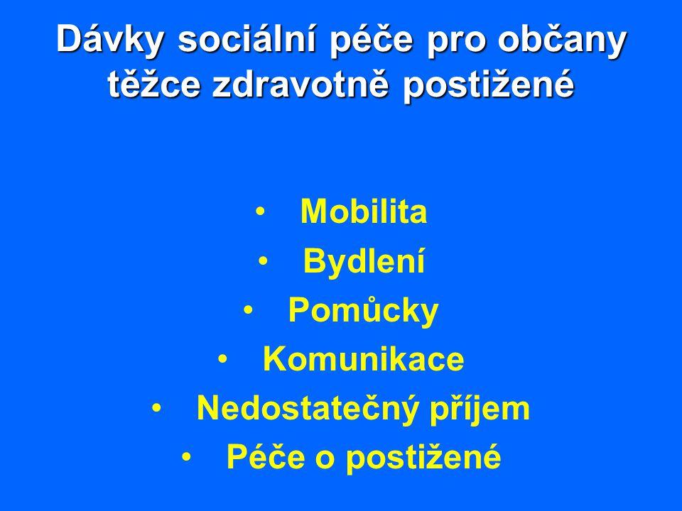Dávky sociální péče pro občany těžce zdravotně postižené Mobilita Bydlení Pomůcky Komunikace Nedostatečný příjem Péče o postižené