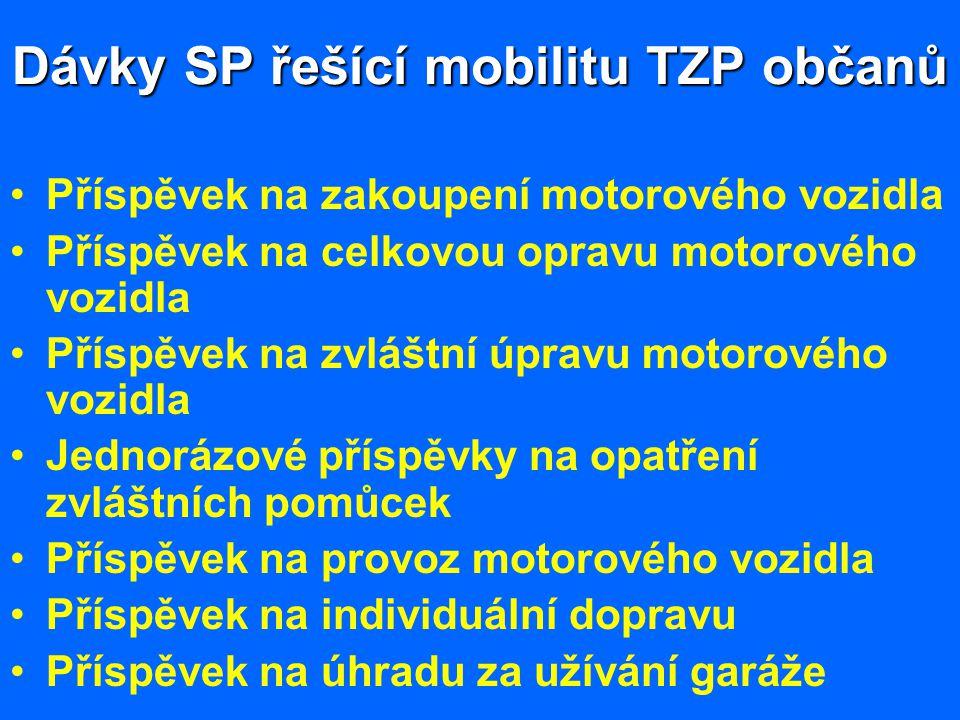 Dávky SP řešící mobilitu TZP občanů Příspěvek na zakoupení motorového vozidla Příspěvek na celkovou opravu motorového vozidla Příspěvek na zvláštní úp