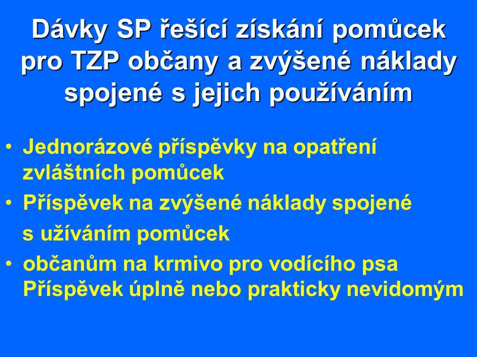 Dávky SP řešící získání pomůcek pro TZP občany a zvýšené náklady spojené s jejich používáním Jednorázové příspěvky na opatření zvláštních pomůcek Přís