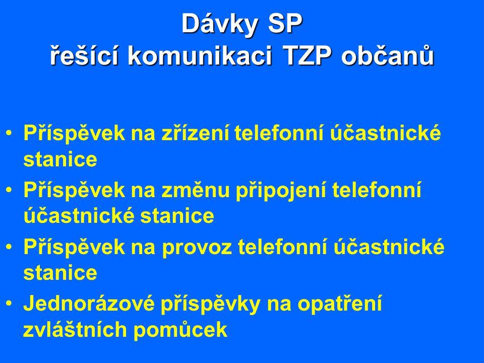 Dávky SP řešící komunikaci TZP občanů Příspěvek na zřízení telefonní účastnické stanice Příspěvek na změnu připojení telefonní účastnické stanice Přís