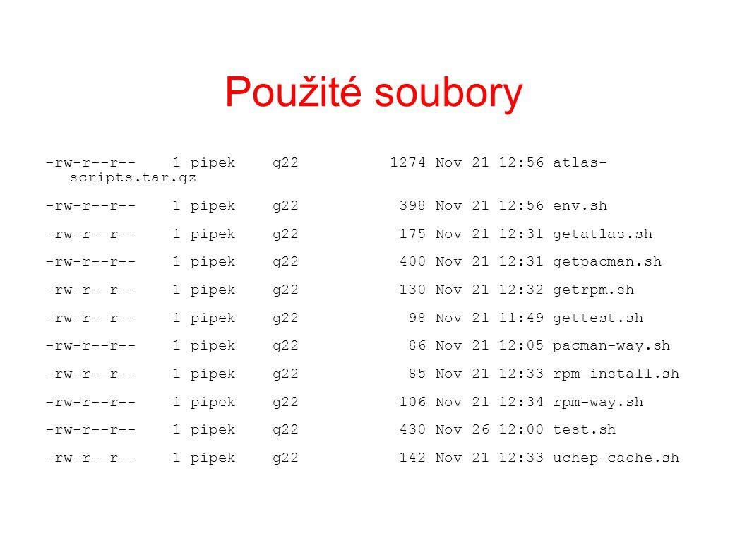 Použité soubory -rw-r--r-- 1 pipek g22 1274 Nov 21 12:56 atlas- scripts.tar.gz -rw-r--r-- 1 pipek g22 398 Nov 21 12:56 env.sh -rw-r--r-- 1 pipek g22 175 Nov 21 12:31 getatlas.sh -rw-r--r-- 1 pipek g22 400 Nov 21 12:31 getpacman.sh -rw-r--r-- 1 pipek g22 130 Nov 21 12:32 getrpm.sh -rw-r--r-- 1 pipek g22 98 Nov 21 11:49 gettest.sh -rw-r--r-- 1 pipek g22 86 Nov 21 12:05 pacman-way.sh -rw-r--r-- 1 pipek g22 85 Nov 21 12:33 rpm-install.sh -rw-r--r-- 1 pipek g22 106 Nov 21 12:34 rpm-way.sh -rw-r--r-- 1 pipek g22 430 Nov 26 12:00 test.sh -rw-r--r-- 1 pipek g22 142 Nov 21 12:33 uchep-cache.sh