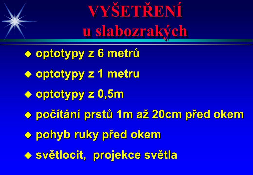 VYŠETŘENÍ u slabozrakých VYŠETŘENÍ u slabozrakých u optotypy z 6 metrů u optotypy z 1 metru u optotypy z 0,5m u počítání prstů 1m až 20cm před okem u