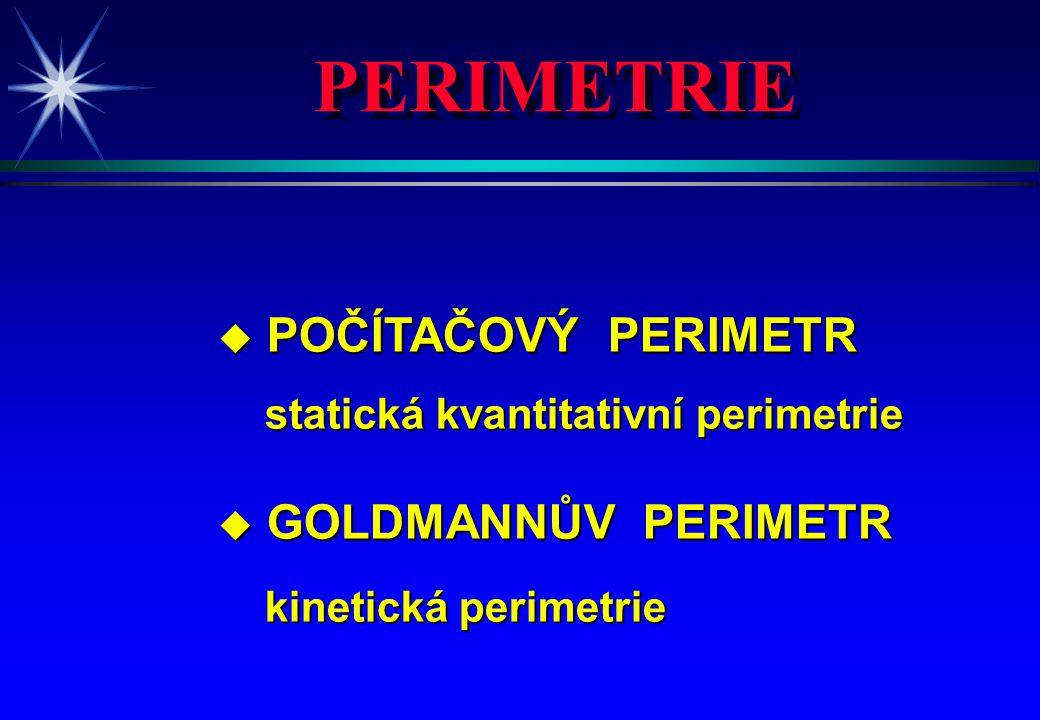 PERIMETRIE u POČÍTAČOVÝ PERIMETR statická kvantitativní perimetrie statická kvantitativní perimetrie u GOLDMANNŮV PERIMETR kinetická perimetrie kineti