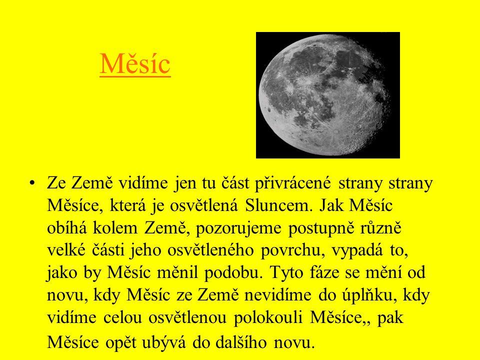 Měsíc Ze Země vidíme jen tu část přivrácené strany strany Měsíce, která je osvětlená Sluncem.