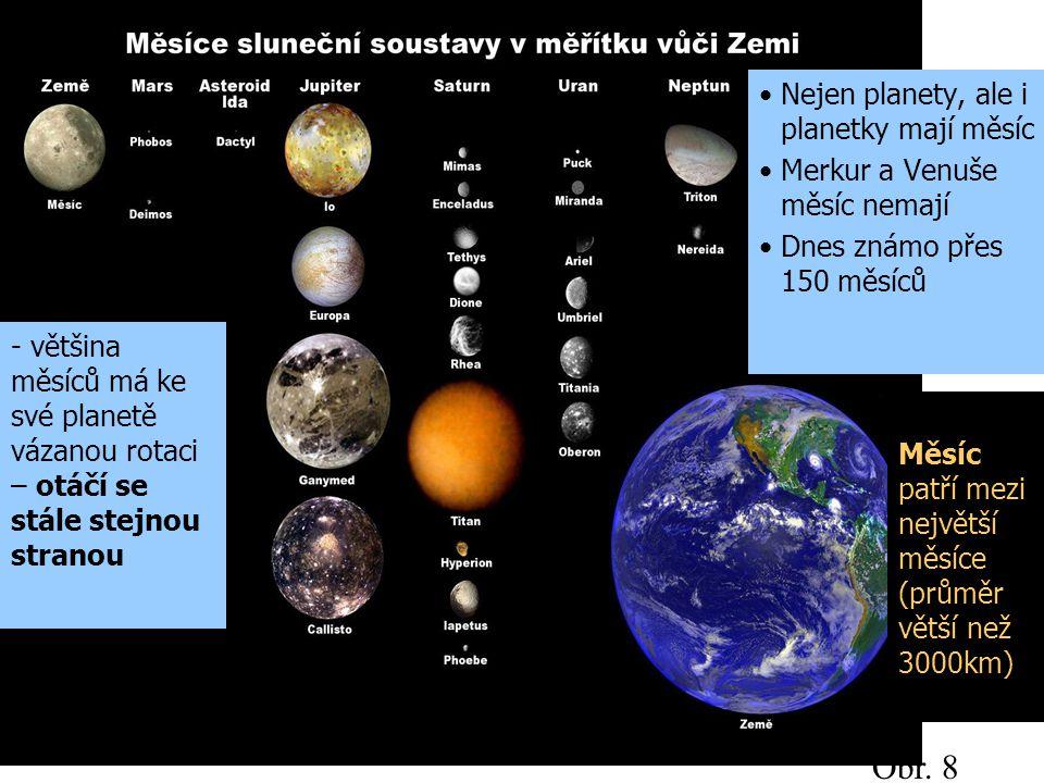 Měsíc patří mezi největší měsíce (průměr větší než 3000km) Obr. 8 Nejen planety, ale i planetky mají měsíc Merkur a Venuše měsíc nemají Dnes známo pře