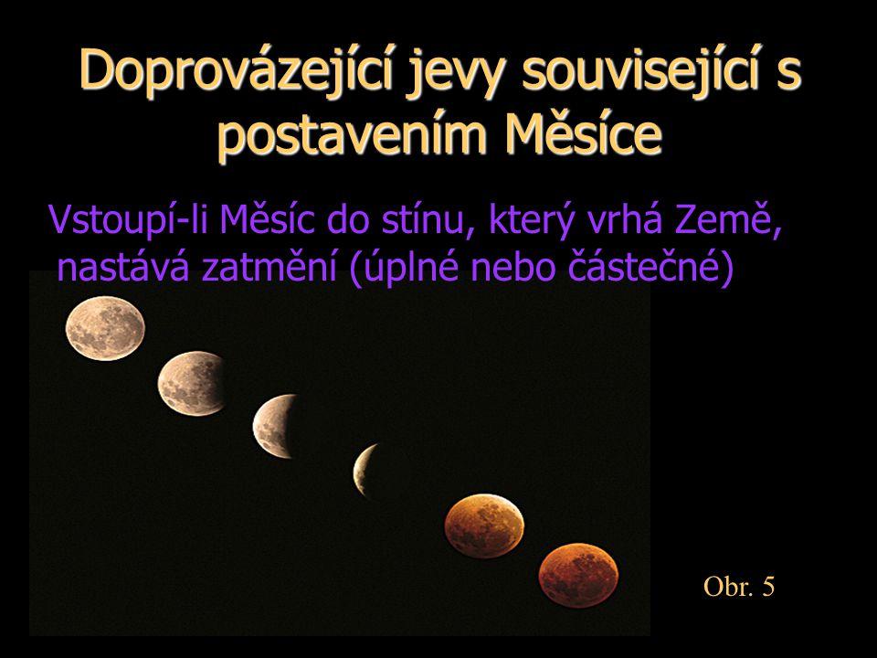 Doprovázející jevy související s postavením Měsíce Vstoupí-li Měsíc do stínu, který vrhá Země, nastává zatmění (úplné nebo částečné) Obr. 5