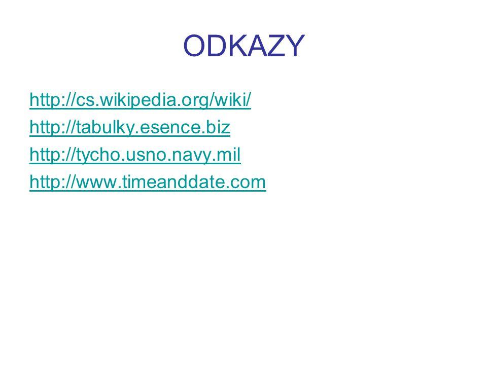 ODKAZY http://cs.wikipedia.org/wiki/ http://tabulky.esence.biz http://tycho.usno.navy.mil http://www.timeanddate.com