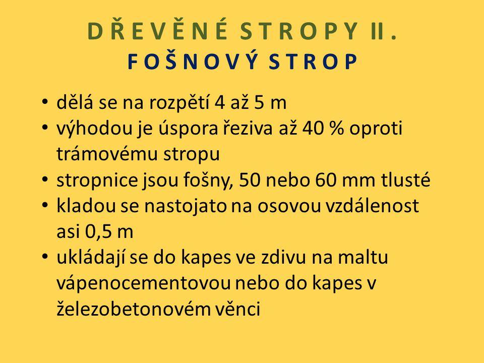 D Ř E V Ě N É S T R O P Y II. F O Š N O V Ý S T R O P dělá se na rozpětí 4 až 5 m výhodou je úspora řeziva až 40 % oproti trámovému stropu stropnice j