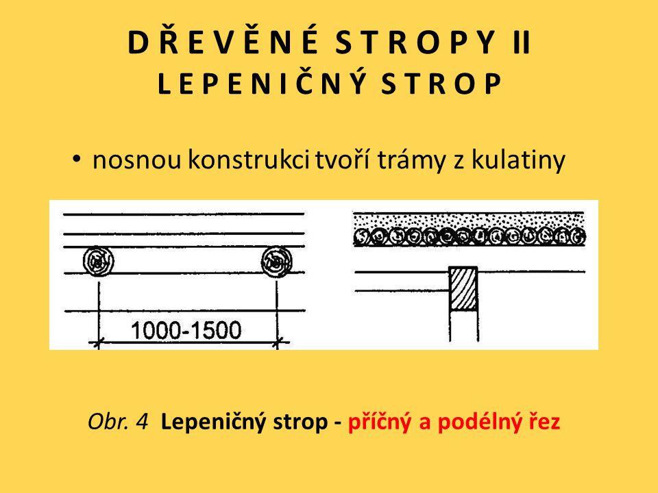 D Ř E V Ě N É S T R O P Y II L E P E N I Č N Ý S T R O P nosnou konstrukci tvoří trámy z kulatiny Obr. 4 Lepeničný strop - příčný a podélný řez