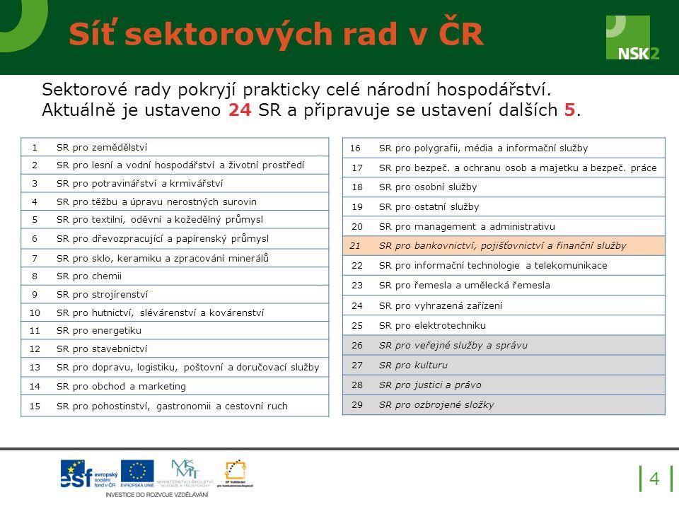 Síť sektorových rad v ČR 4 Sektorové rady pokryjí prakticky celé národní hospodářství.