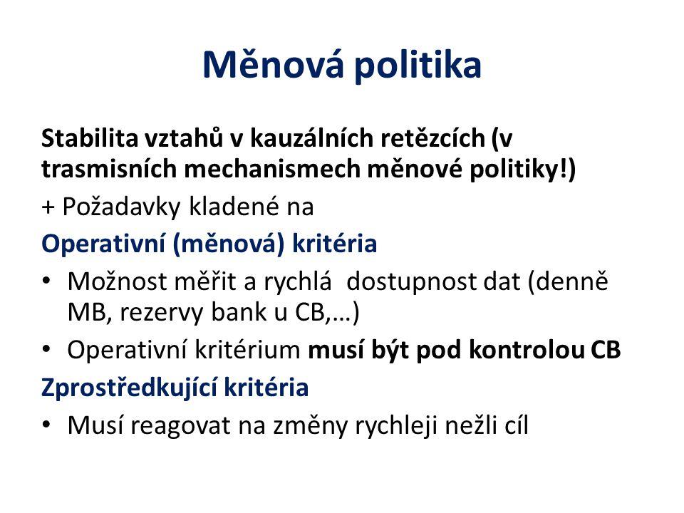 Měnová politika Stabilita vztahů v kauzálních retězcích (v trasmisních mechanismech měnové politiky!) + Požadavky kladené na Operativní (měnová) krité