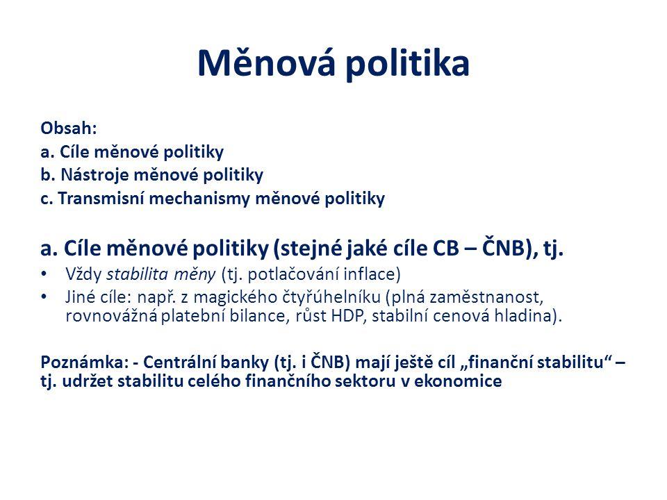 Měnová politika Obsah: a. Cíle měnové politiky b. Nástroje měnové politiky c. Transmisní mechanismy měnové politiky a. Cíle měnové politiky (stejné ja