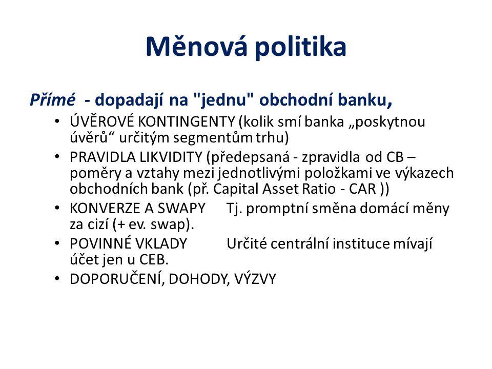 Měnová politika Přímé - dopadají na