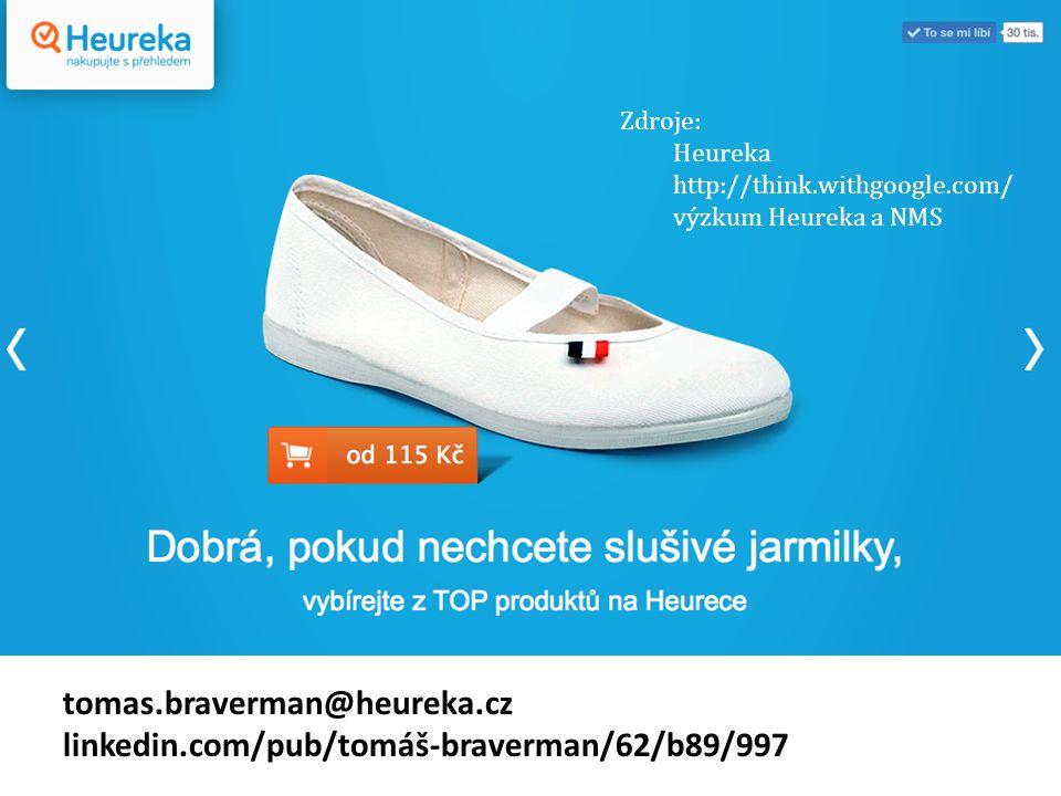 tomas.braverman@heureka.cz linkedin.com/pub/tomáš-braverman/62/b89/997 Zdroje: Heureka http://think.withgoogle.com/ výzkum Heureka a NMS