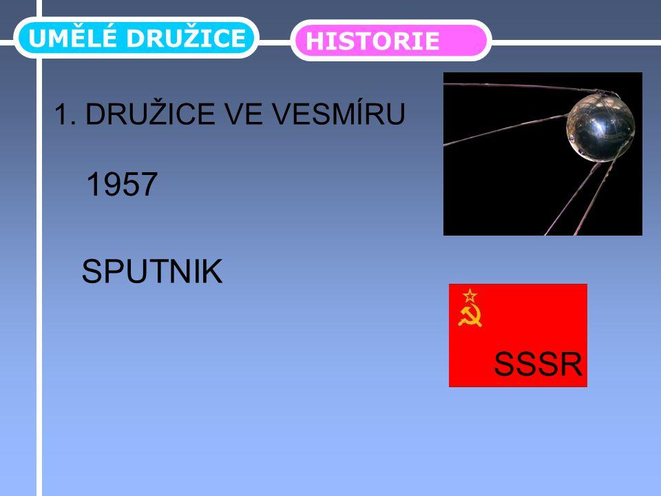 UMĚLÉ DRUŽICE HISTORIE 1. DRUŽICE VE VESMÍRU SPUTNIK 1957 SSSR