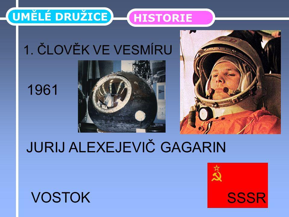 UMĚLÉ DRUŽICE HISTORIE 1. ČLOVĚK VE VESMÍRU JURIJ ALEXEJEVIČ GAGARIN 1961 VOSTOK SSSR