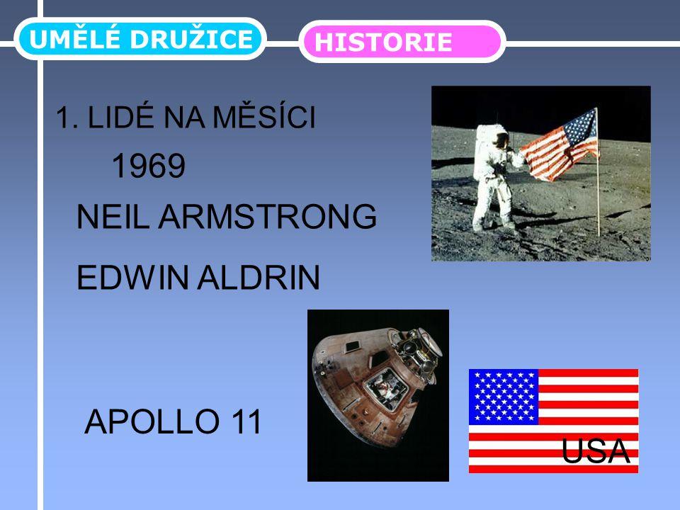 UMĚLÉ DRUŽICE HISTORIE 1. LIDÉ NA MĚSÍCI NEIL ARMSTRONG EDWIN ALDRIN 1969 APOLLO 11 USA