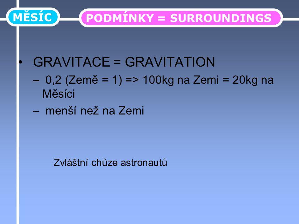 GRAVITACE = GRAVITATION – 0,2 (Země = 1) => 100kg na Zemi = 20kg na Měsíci – menší než na Zemi MĚSÍC PODMÍNKY = SURROUNDINGS Zvláštní chůze astronautů
