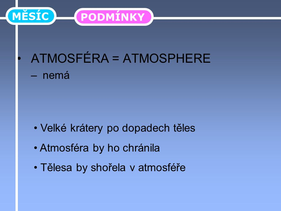 ATMOSFÉRA = ATMOSPHERE – nemá MĚSÍC PODMÍNKY Velké krátery po dopadech těles Atmosféra by ho chránila Tělesa by shořela v atmosféře