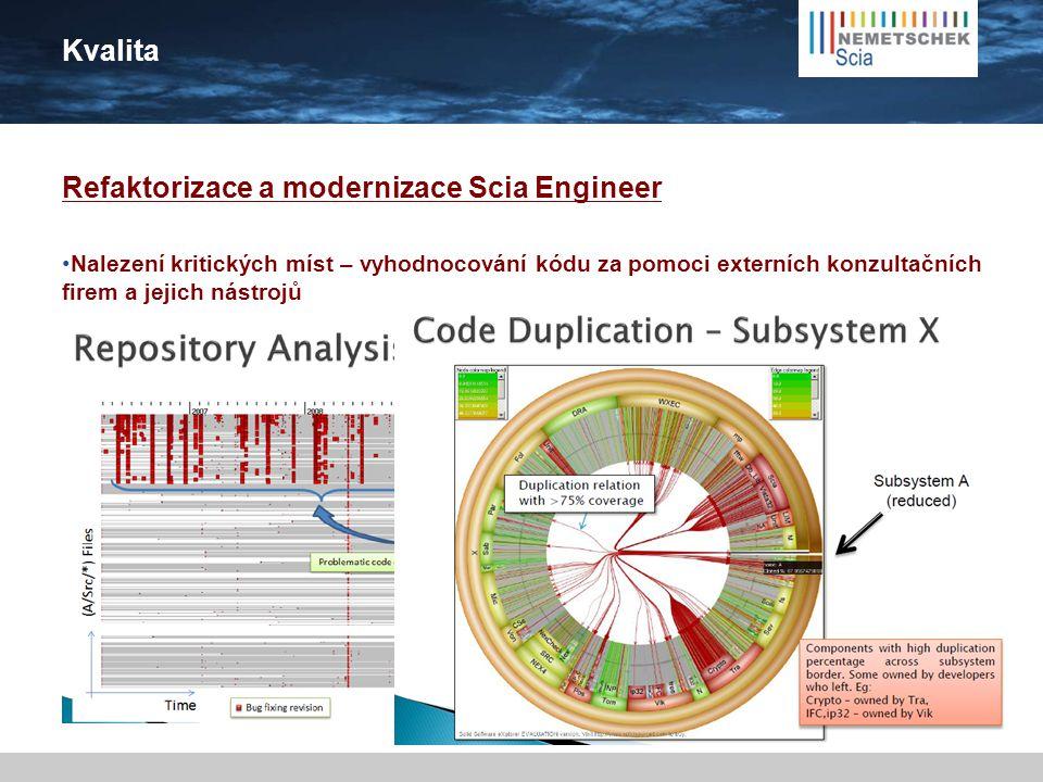 Kvalita Refaktorizace a modernizace Scia Engineer  Moderní technologie (64bitů, vylepšený multitasking, paralelní zpracování)  Moderní architektura: Modulární (menší aplikace, vzájemné propojené) Webovské rozhraní Cloud řešení Žádné omezení ohledně velikosti dat Podpora víceuživatelského přístupu Časový plán: Postupný proces, v každé nové verzi budou novinky kombinované s vylepšeními a novými moduly 2011 - 2012 - 2013