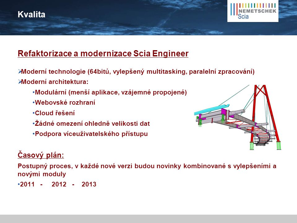 Kvalita Prioritní oblasti funkcionality:  Výpočty a posudky (EC – národní doplňky, beton, ocel, dřevo...)  3D modelování, grafické a alfanumerické zadání + editace  User-friendly software, jednoduché ovládání  Výstupy – dokument  BIM  Automatizace návrhu, optimalizace  Dynamika, seismicita  64bit  PEB
