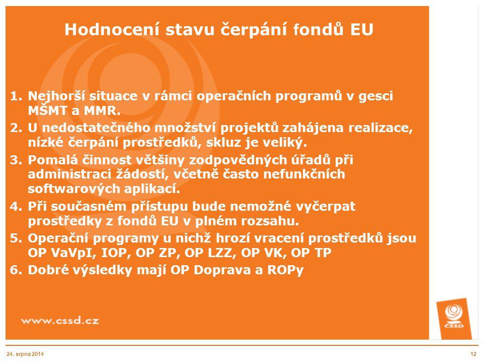 Hodnocení stavu čerpání f ondů EU 1.Nejhorší situace v rámci operačních programů v gesci MŠMT a MMR. 2.U nedostatečného množství projektů zahájena rea