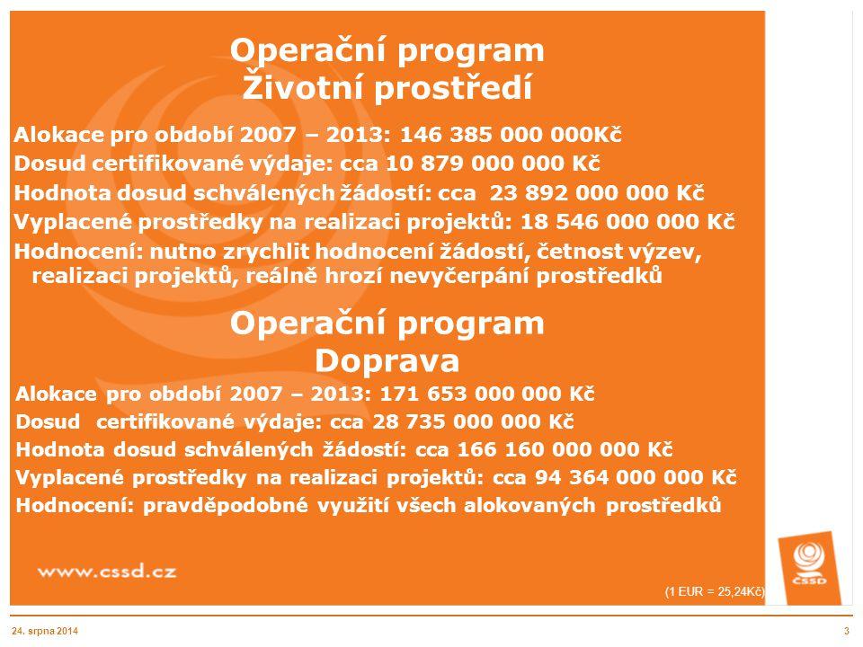 Operační program Životní prostředí Alokace pro období 2007 – 2013: 146 385 000 000Kč Dosud certifikované výdaje: cca 10 879 000 000 Kč Hodnota dosud s
