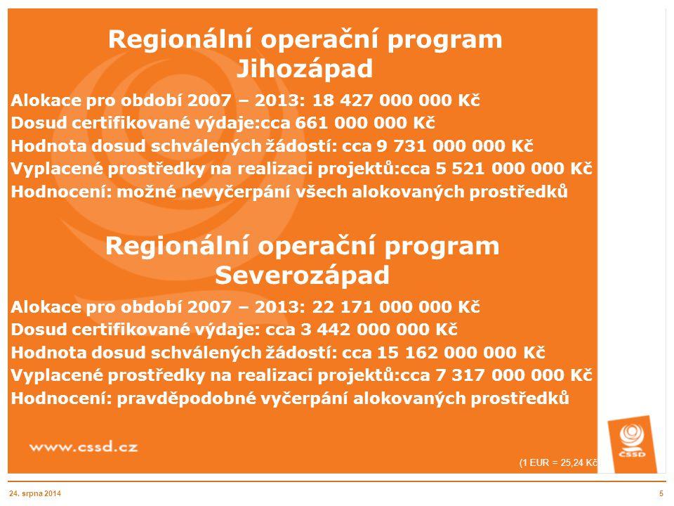 Regionální operační program Jihozápad Alokace pro období 2007 – 2013: 18 427 000 000 Kč Dosud certifikované výdaje:cca 661 000 000 Kč Hodnota dosud sc