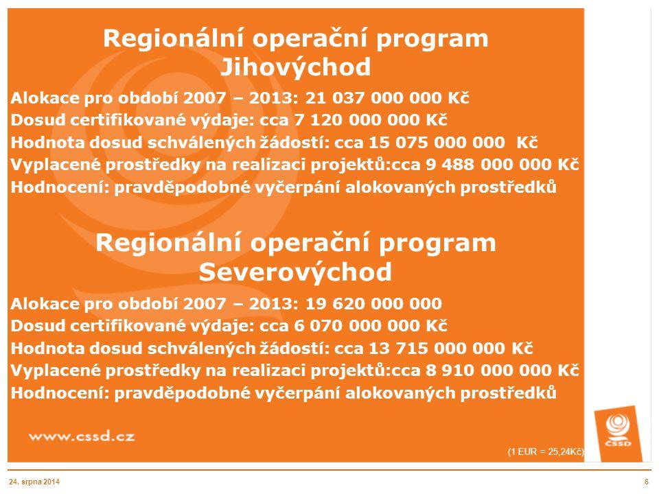 Regionální operační program Jihovýchod Alokace pro období 2007 – 2013: 21 037 000 000 Kč Dosud certifikované výdaje: cca 7 120 000 000 Kč Hodnota dosu