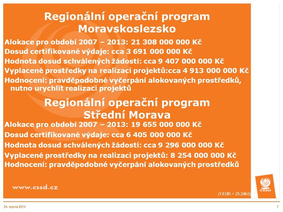 Regionální operační program Moravskoslezsko Alokace pro období 2007 – 2013: 21 308 000 000 Kč Dosud certifikované výdaje: cca 3 691 000 000 Kč Hodnota