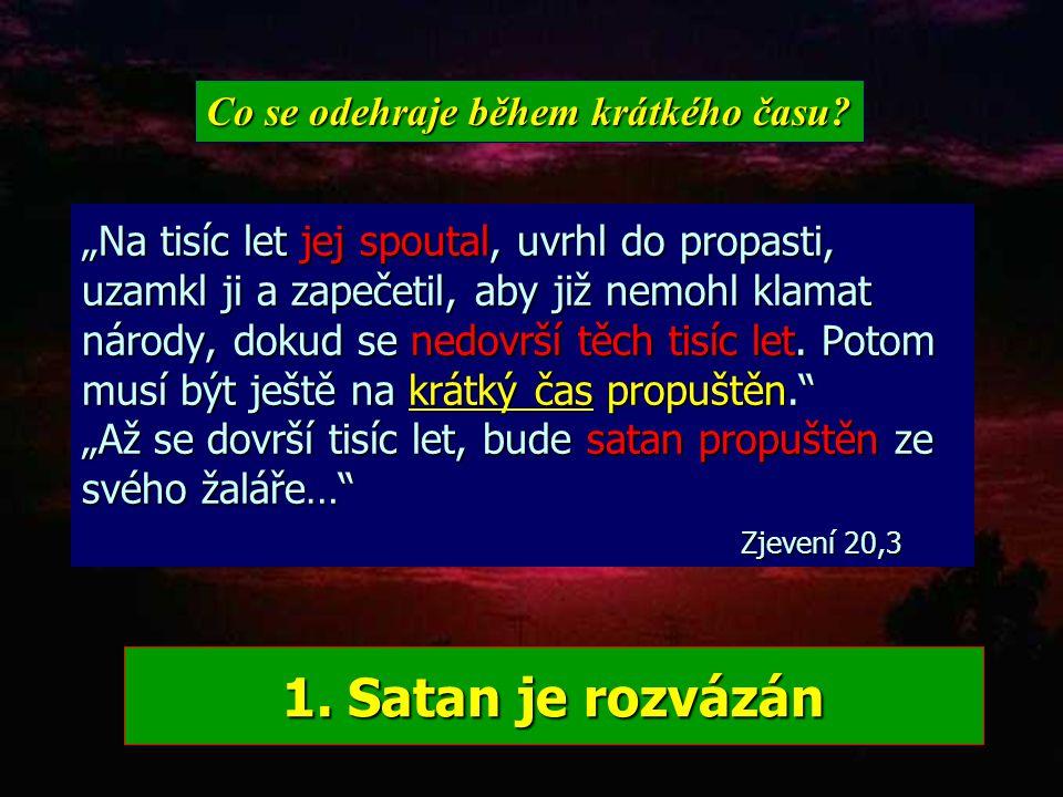 TISÍCILETÉ KRÁLOVSTVÍ (Zjevení 20,1-9) Čas konce1000 let 1.2. Věčnost... vzkříšení Návrat Ježíše Spravedliví mrtví vzkříšeni Žijící svatí vzati vzhůru