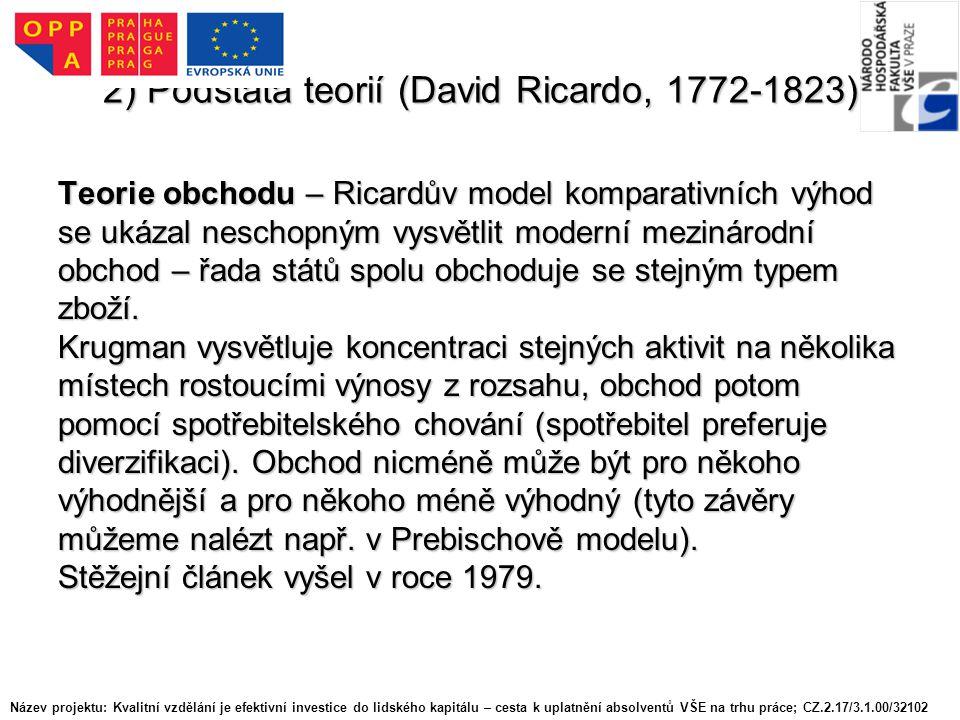 2) Podstata teorií (David Ricardo, 1772-1823) Teorie obchodu – Ricardův model komparativních výhod se ukázal neschopným vysvětlit moderní mezinárodní obchod – řada států spolu obchoduje se stejným typem zboží.